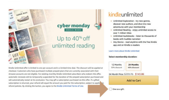 Gift Kindle Unlimited pre-paid plan - Cyber Monday 2017 deals