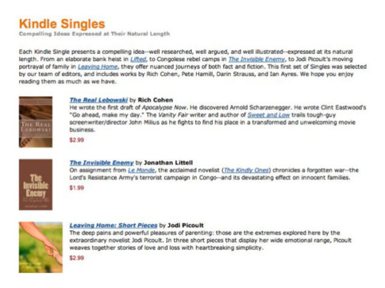 Kindle Singles are launched in January 2011