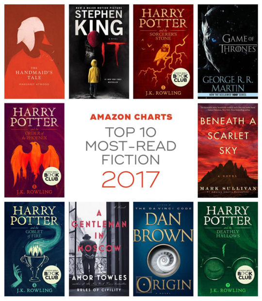 Amazon Charts - Top 10 most-read fiction books of 2017