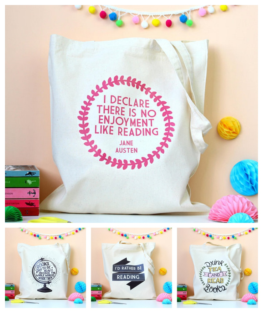 Book-inspired tote bags from Fable and Black