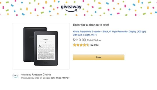 Christmas 2017 giveaway - enter Amazon Charts to win Kindle Paperwhite