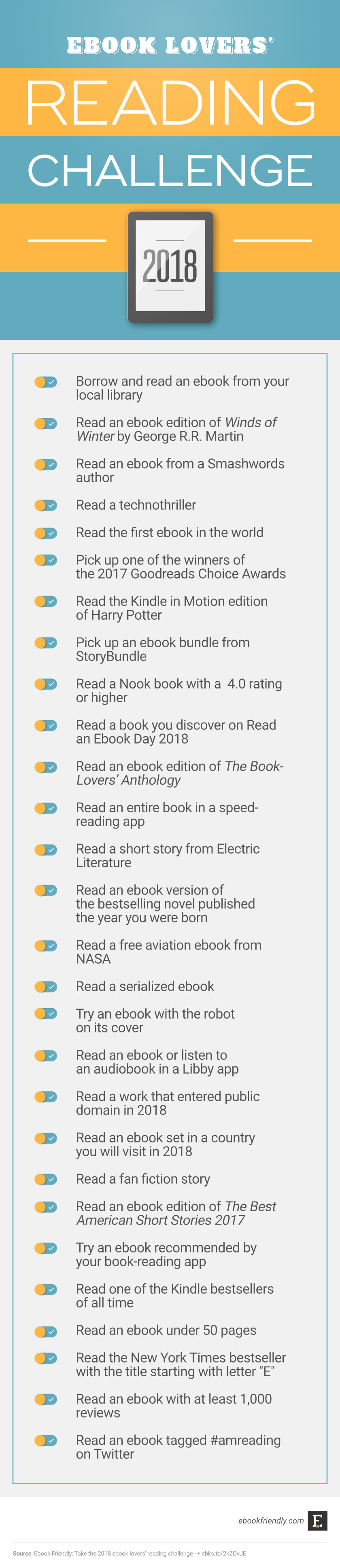 Ebook lovers' reading challenge 2018 #infographic