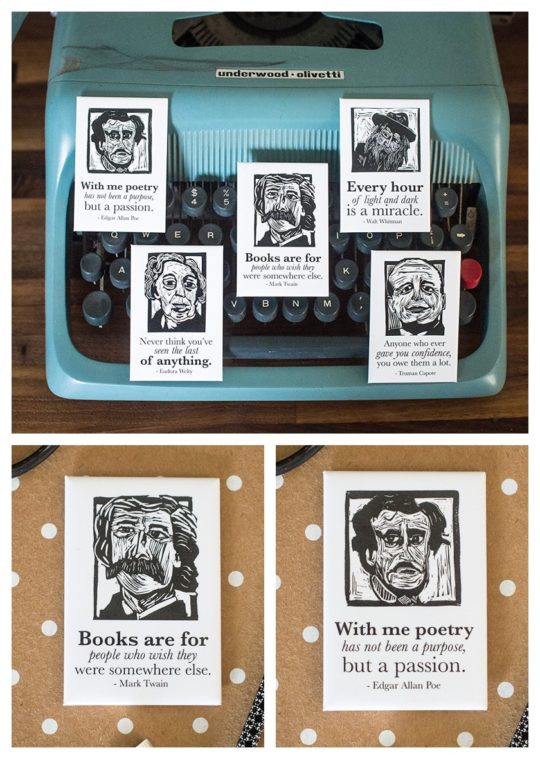 Famous writers kitchen magnets - bookish gift ideas 2017