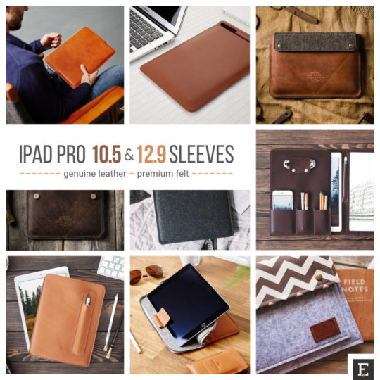 Premium leather and felt sleeves for iPad Pro 10.5 and 12.9