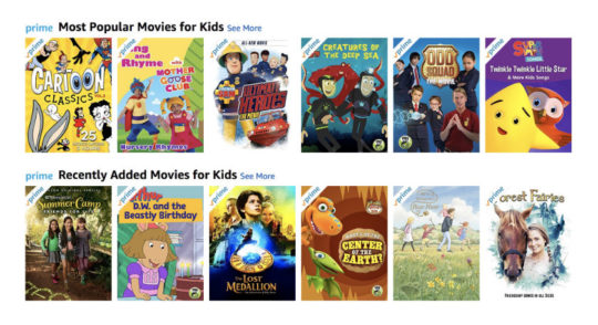 Lots of kids movies are available via Amazon Prime
