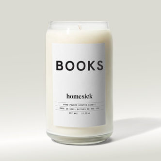 Book-scented soy wax candle from Homesick