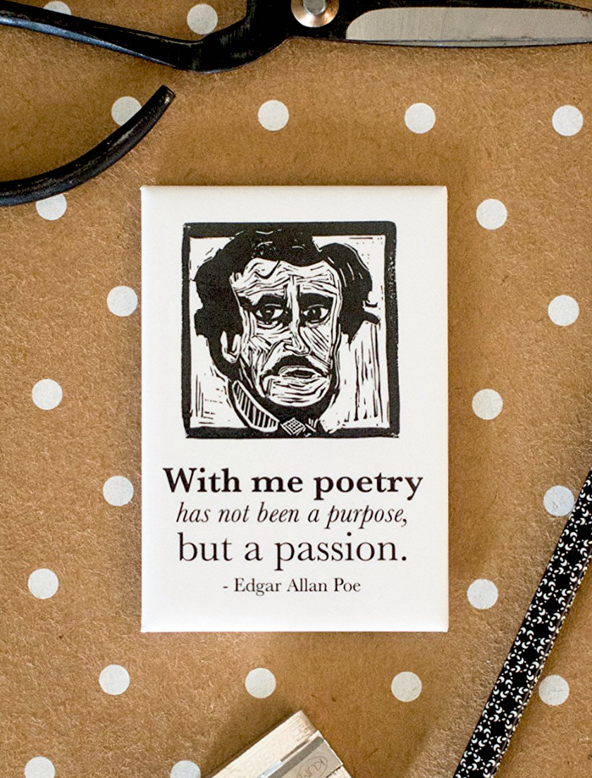 Edgar Allan Poe Literary Kitchen Magnet