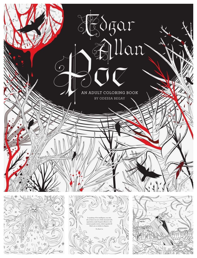 Edgar Allan Poe - an adult coloring book by Odessa Begay