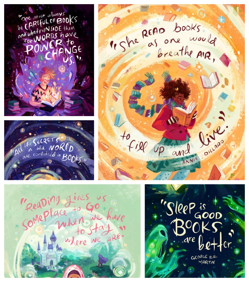 Famous quotes about books illustrated by Simini Blocker