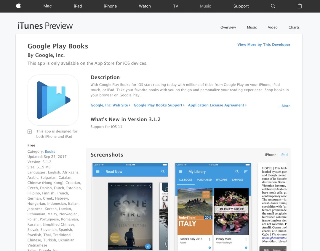 Google Play Books - old web preview of Apple App Store
