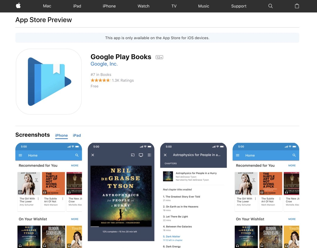 Google Play Books - redesigned web preview of Apple App Store
