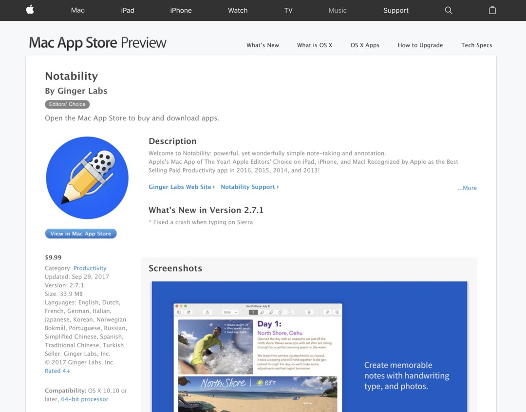 Notability - old web preview of Apple App Store