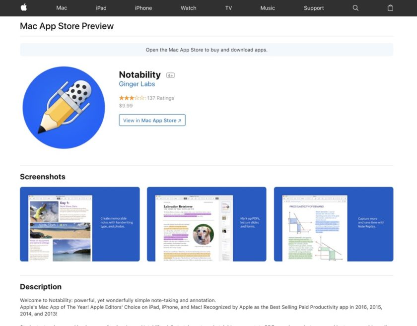 Notability - redesigned web preview of Apple App Store