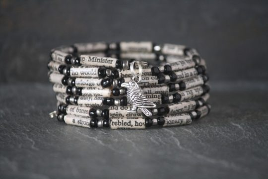 """The Raven"" Paper Bead Bracelet"
