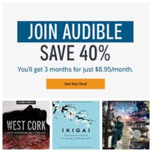 Save 40% on three months of Audible membership program - pay $8.95 instead of $14.95