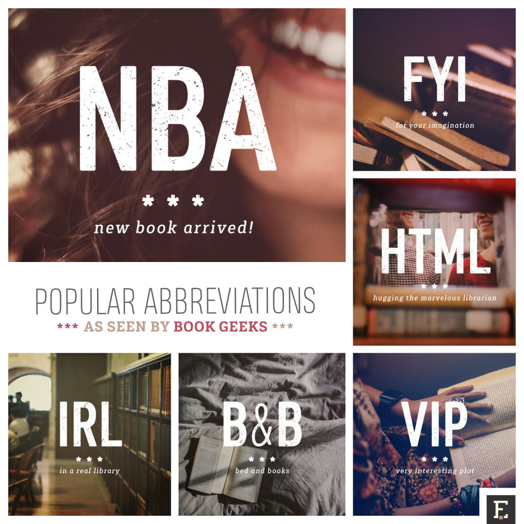 The most popular abbreviations as seen by book nerds