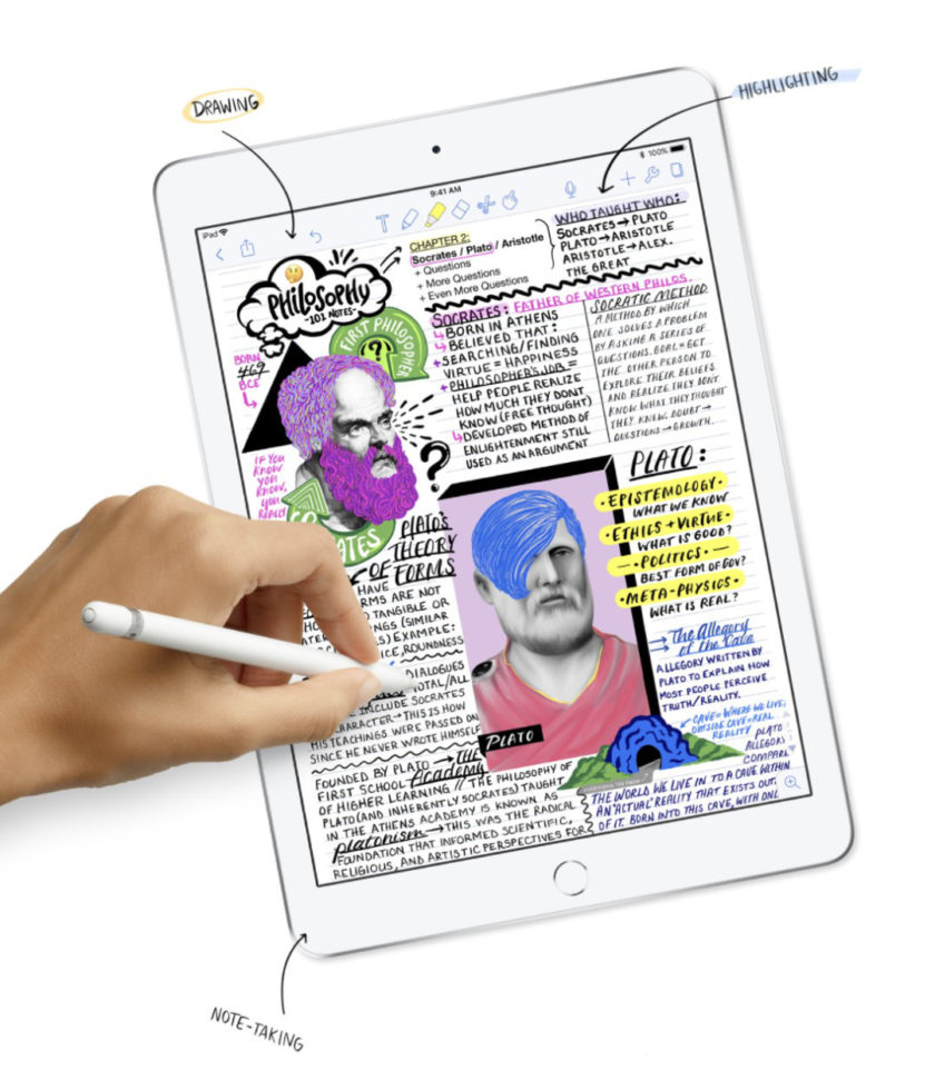 The 9.7-inch iPad supports Apple Pencil - perfect for note-taking, drawing, highlighting, or sketching
