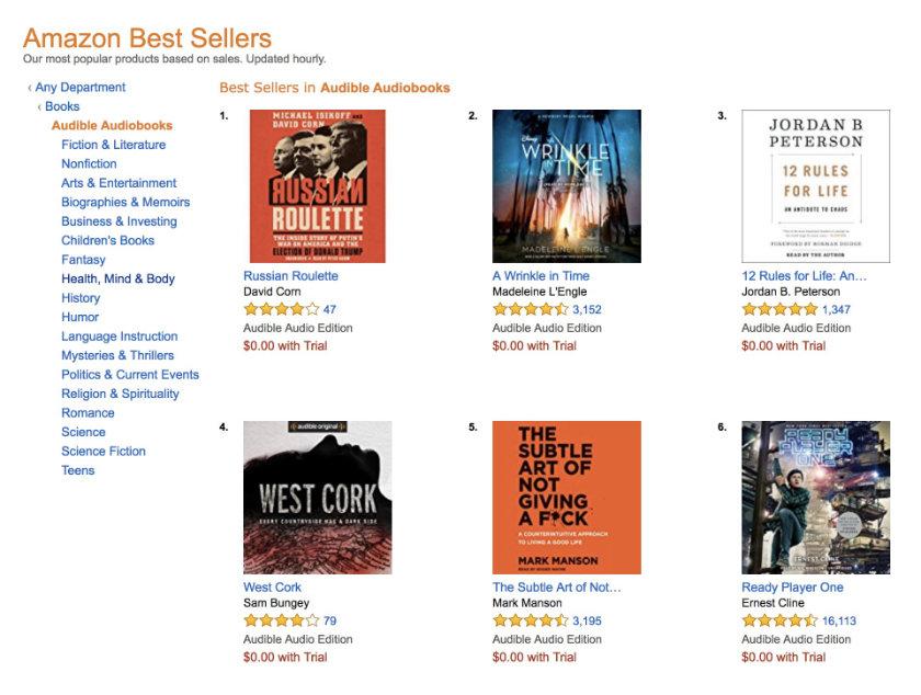 Bestsellers in Audible audiobooks