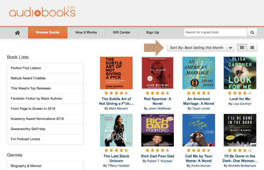Finding bestselling titles on Audiobooks