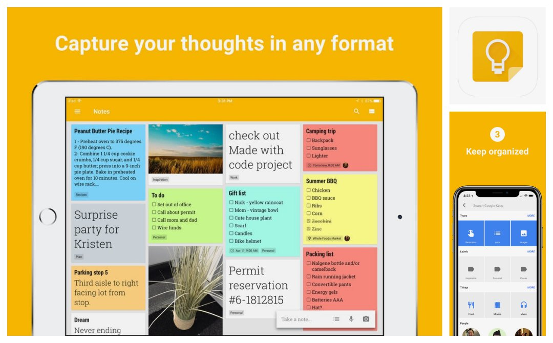 Google Keep - top reference iOS apps for iPad and iPhone