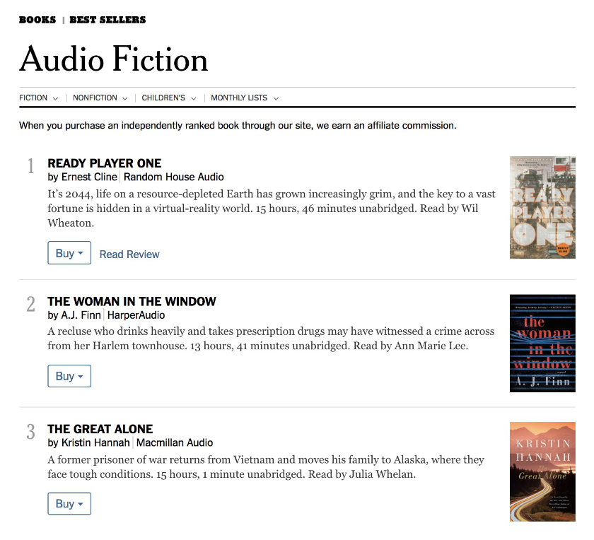 New York Times Audiobook Fiction and Nonfiction Bestseller Lists
