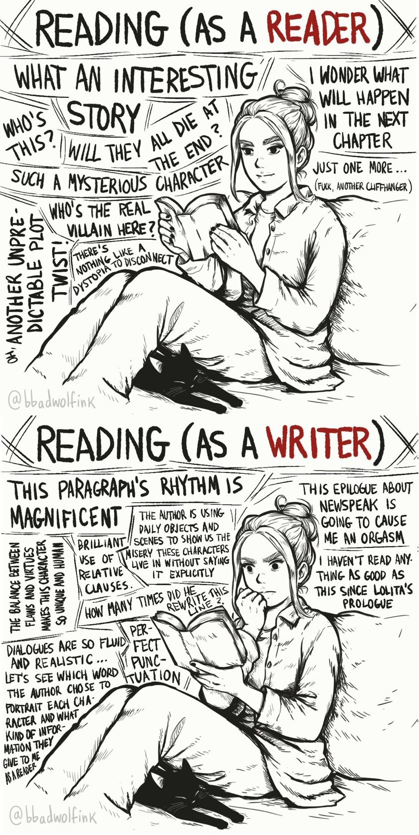 Reading as a reader vs. reading as a writer #cartoon