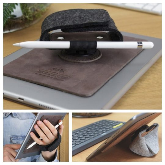 TabStrap from Pack & Smooch is an iPad hand holder and stand with an Apple Pencil holder