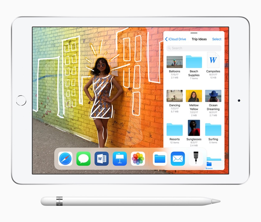 The 2018 entry-level iPad tablet is ready for Apple Pencil (sold separately)
