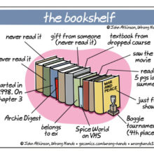 The bookshelf - a cartoon by John Atkinson / Wrong Hands