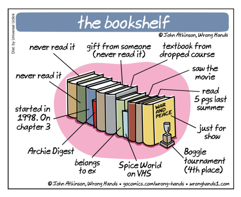 The bookshelf - a cartoon by John Atkinson / Wrong Hands