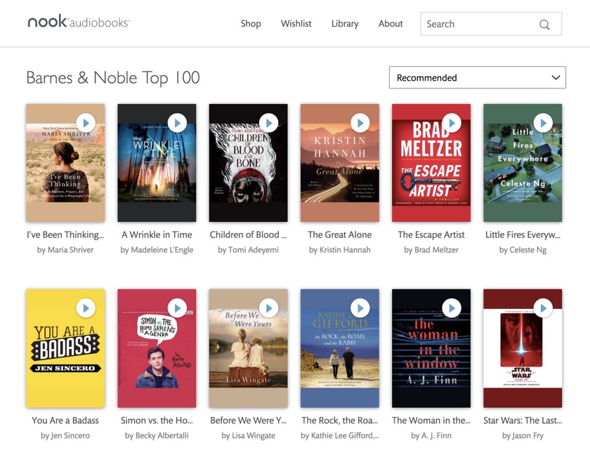 Top 100 bestselling Nook audiobooks
