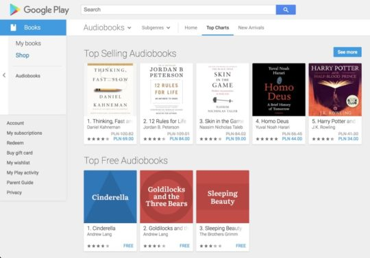 Top selling audiobooks in Google Play Store