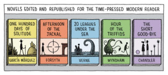 Novels edited for modern reader - a cartoon by Tom Gauld for The Guardian