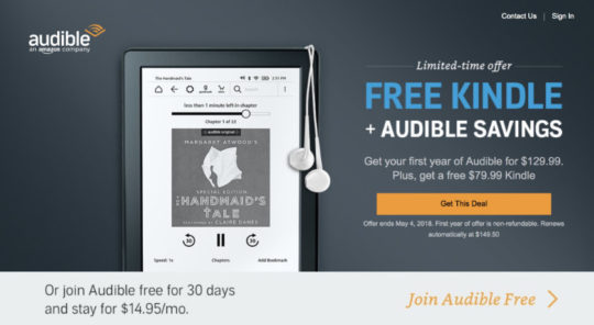 Join Audible and get the basic Kindle for free - limited-time offer, May 2018