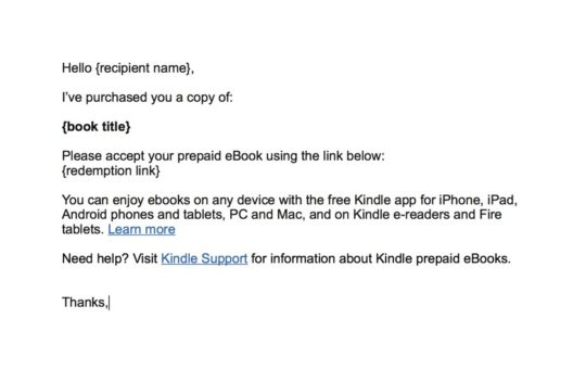 Email template to send a Kindle book to multiple recipients
