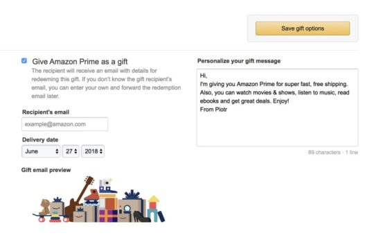 Gifting Prime membership - send a personalized message