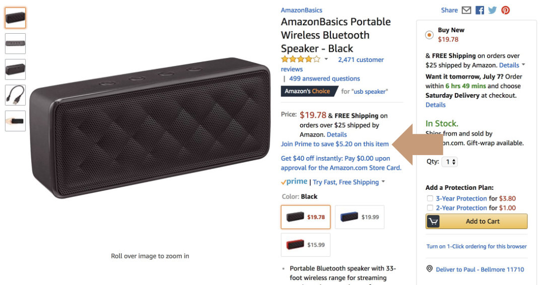 Find Prime Day eligible deals on Amazon - see Prime discount on a product page