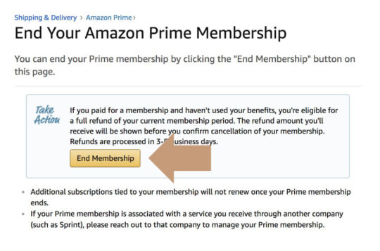 How to end Amazon Prime membership using Amazon Help page