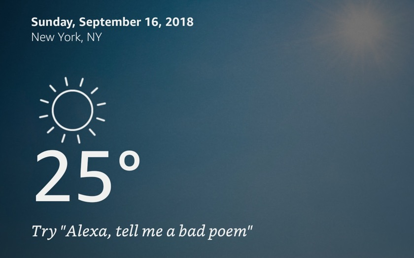 Alexa shows weather with Show Mode
