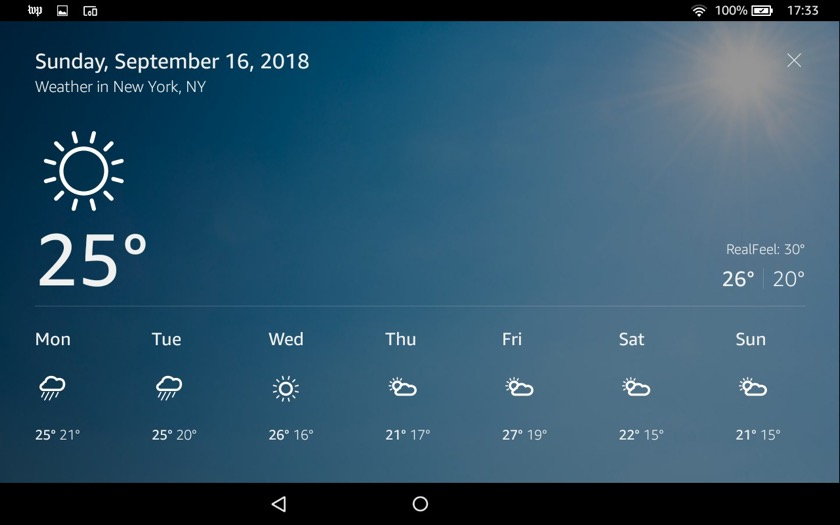 Alexa shows weather without Show Mode