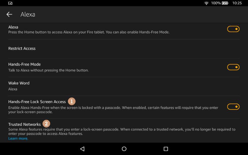 Amazon Fire - disable lock screen passcode in Alexa