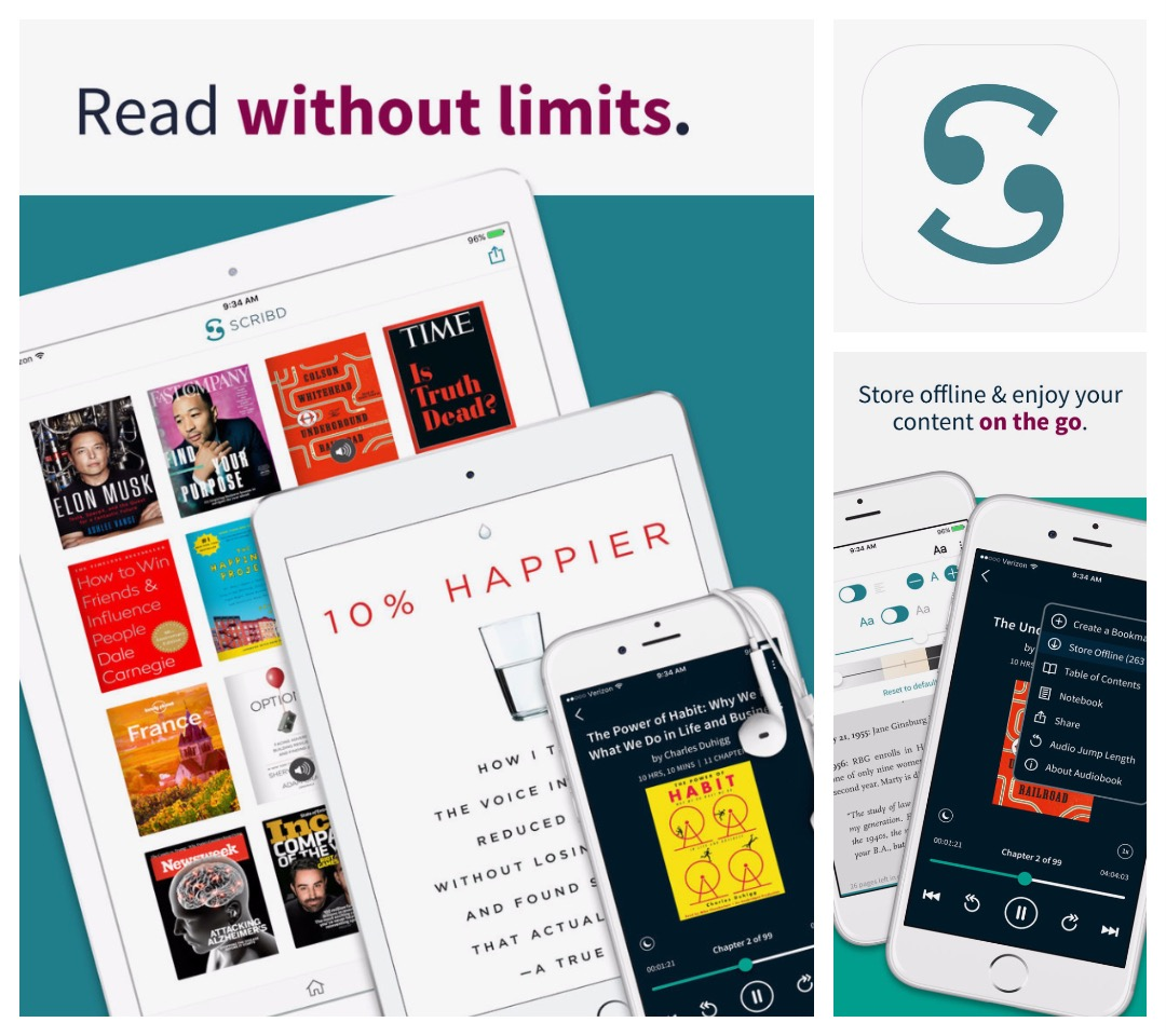 Best audiobook apps for iPad and iPhone - Scribd reading subscription