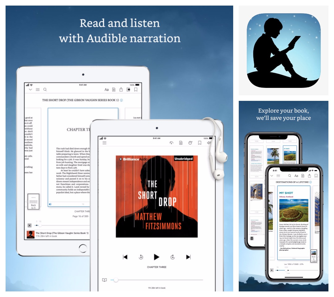 Best audiobook apps for iPad iPhone - Kindle app offers a playback of audiobook companions