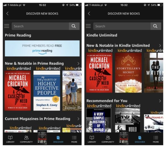 Compare Kindle Unlimited and Prime Reading in the Kindle app for iPad and iPhone