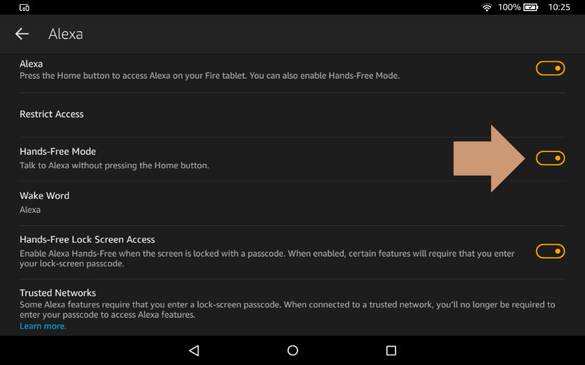 How to enable hands-free Alexa on Amazon Fire tablet