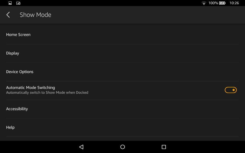 Show Mode settings on the Fire tablet