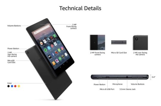 The newest Fire HD 8 tablet released in 2018 - technical details