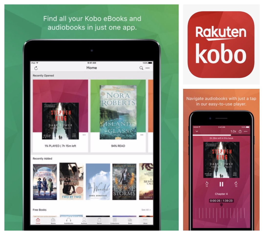 iOS audiobook apps - Kobo ebooks and audiobooks for iPhone and iPad