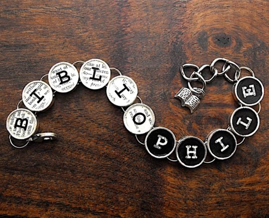 Bibliophile Book Reading Themed Bracelet - bookish gift ideas 2018