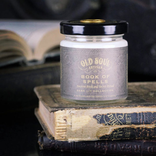Book of Spells Old Books Scented Soy Candle - best gifts of 2018